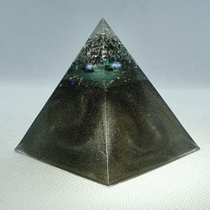 Full Circle Copper Orgonite Pyramid 6cm - Herkimer Diamonds, Amethyst, Brass, Silver and Aluminium over Tourmaline and Copper