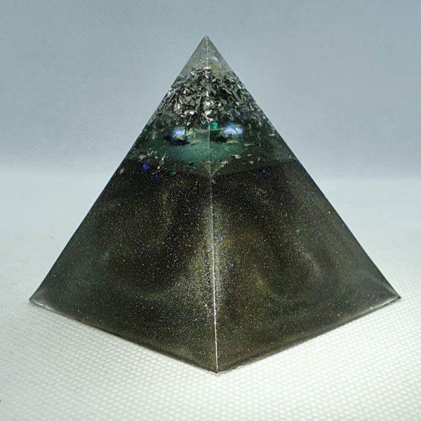 Full Circle Copper Orgonite Pyramid 6cm - Herkimer Diamonds, Amethyst, Brass, Silver and Aluminium over Tourmaline and Copper