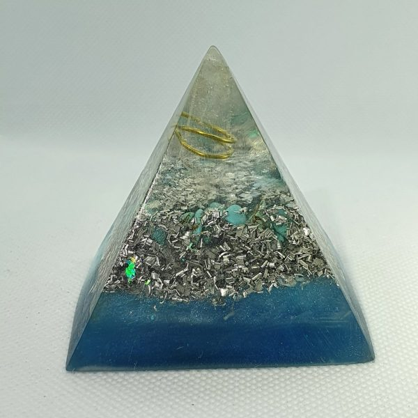All Seeing Eye Turquoise Orgone Orgonite Pyramid 6cm 1