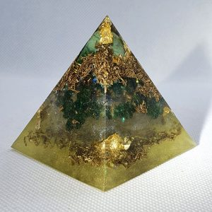 Authority has No Power Orgone Orgonite Pyramid 6cm - Hege Amazonite, with a gold and brass hug, with Green Adventurine all for the heart chakra! healing, helping, nuturing