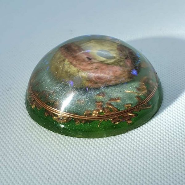 Green Lothlorien Orgone Orgonite Orb - Labradorite and Pink and Grey Agate, with Brass Goodness