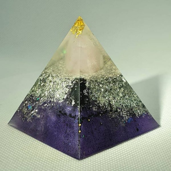 Eye of Clarity Orgone Orgonite Pyramid 6cm - Gold topping Herkimer Diamonds and a Large Rose Quartz chuck, on a base of aluminium and silver