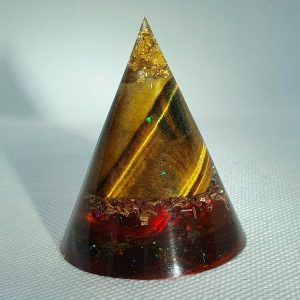 The Soothsayer Tiger Eye Orgone Orgonite Cone 5cm - Soothing powers of of Gold and Tiger Eye with of course Herkimer Diamonds and Brass to compliment and complete this Orgonite beauty