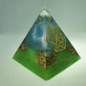 Under the Turquoise Sky Orgone Orgonite Pyramid 6cm - Gold, Moonstone and Clear Quartz with Sacred Geometry, Rose Quartz with Brass.