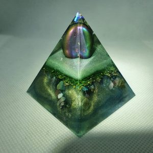 Oscillating Waves Orgone Orgonite Pyramid 6cm - Titanium Aura Quartz to enhance your personal power, Yellow Adventurine, Golden Tiger Eye, Green Adventurine, Jet, Turquoise, Amethyst and More with Copper and Brass