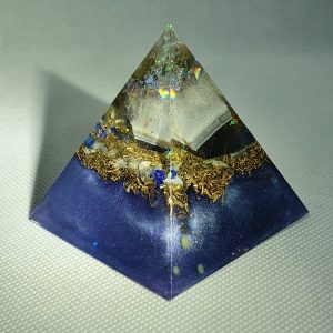 Seeing Glass Orgone Orgonite Pyramid 6cm - Mirror like finish, Titanium Geode, Lapis Lazuli, Moonstone, and Celestite with Brass