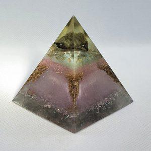 Pussy Willow Orgone Orgonite Pyramid 6cm - Labradorite Rainbows of goodness, Rose Quartz, Brass, Herkimer Diamonds, SIlver and Alumiium